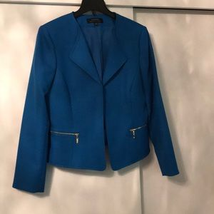Blue Tahari blazer with gold zippers